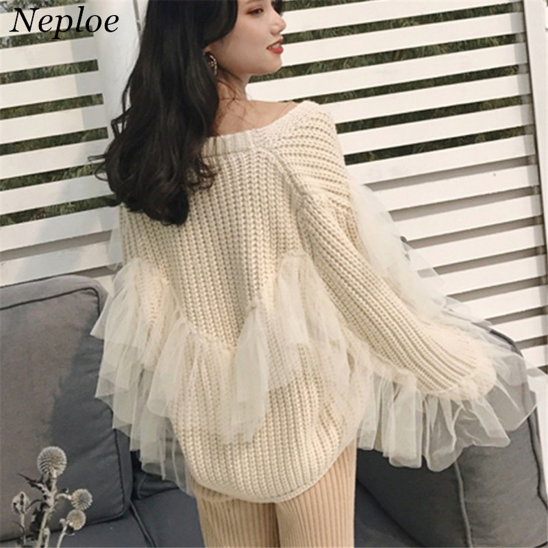 Sweaters Official Website Neploe Mesh Patchwork Knitted Women Cardigan Casual Loose Fashion Female Open Stich 2019 Autumn Winter New Sweet Sweater 69044 The Latest Fashion