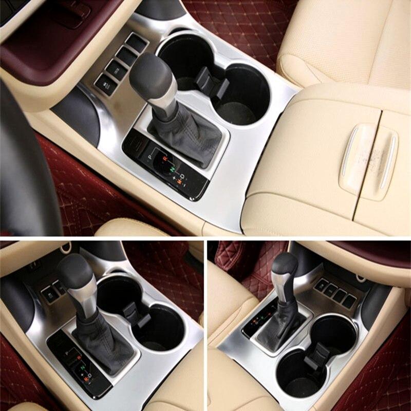 Pour 2014 2015 Toyota Highlander Kluger XU50 ABS Chrome pommeau de vitesse couvercle tasse d'eau support en verre couvercle garniture accessoires de voiture