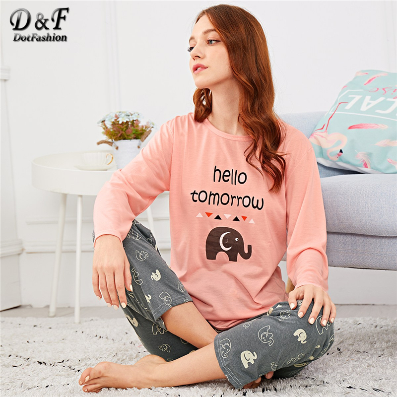 Dotfashion Cartoon Elephant Letter Print   Pajama     Set   For Women Autumn Clothing 2018 Casual Long Sleeve Nightwear   Pajama     Sets