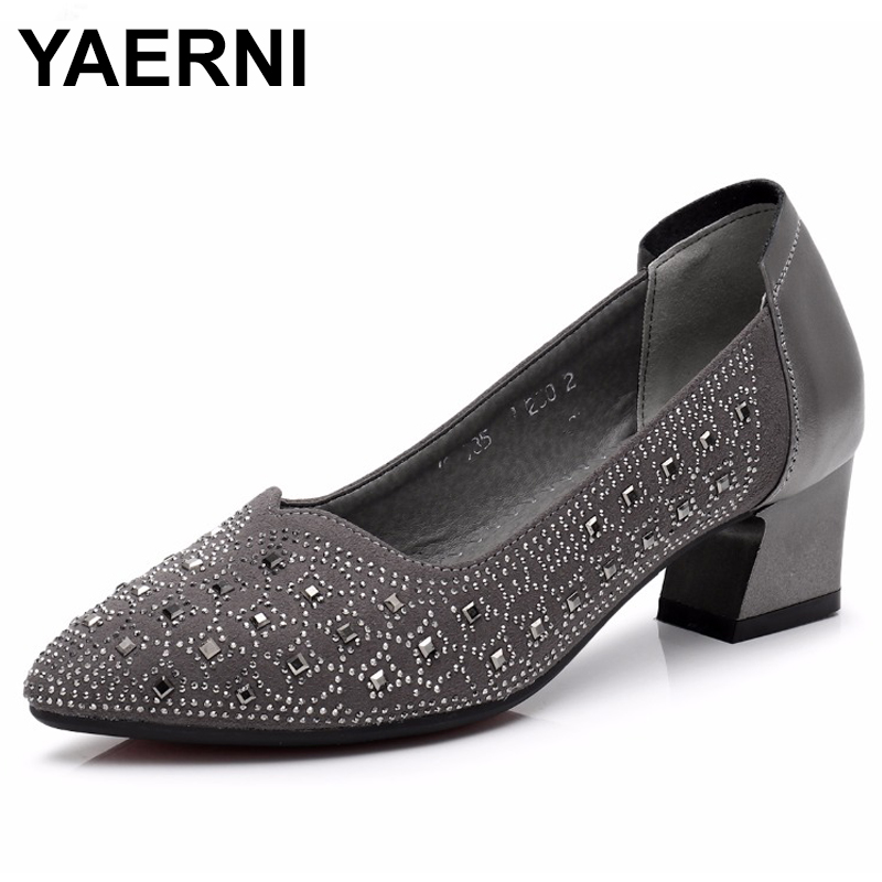 YAERNIFashion Genuine Leather Shoes Woman Pointed Toe Women Pumps Shallow Slip-on Square Heel Zapatos Mujer Shoes Med heels E555 цена