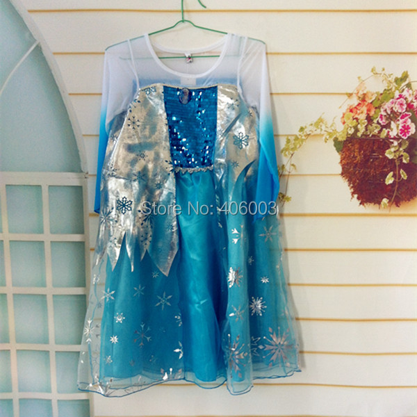 Фото Free Shipping Children Party Princess Dress Sequined Cosplay Costume For Girls Anna Elsa Costume