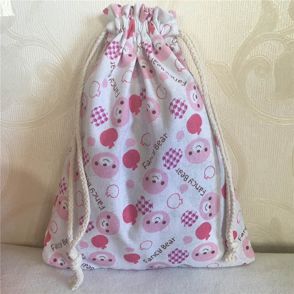 YILE 1pc Cotton Linen Drawstring Multi-purpose Pouch Gift Party Bag Print Fancy Bear Pink 8201a