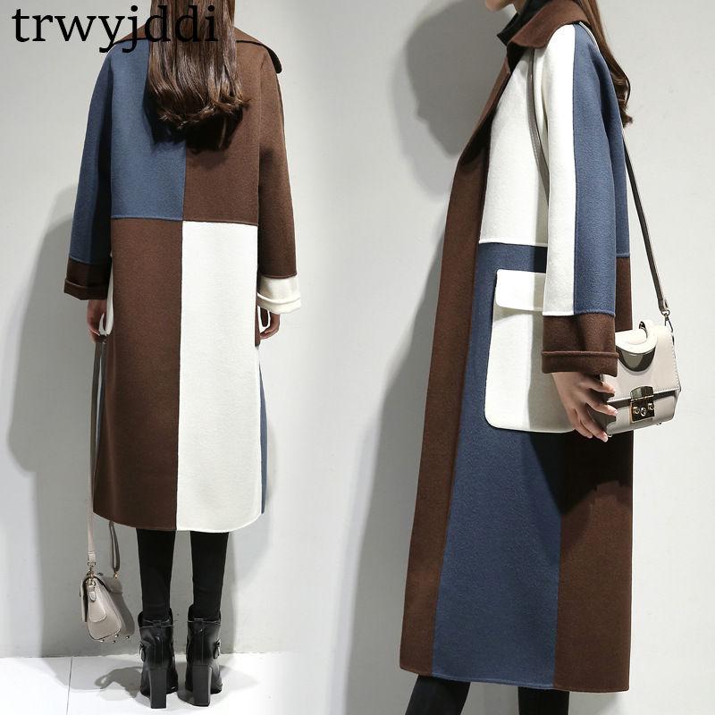 2018 hiver manteau de tissu de laine nouveau Style femmes vestes à manches longues Han édition haut de gamme tempérament revers cultiver manteau de laine