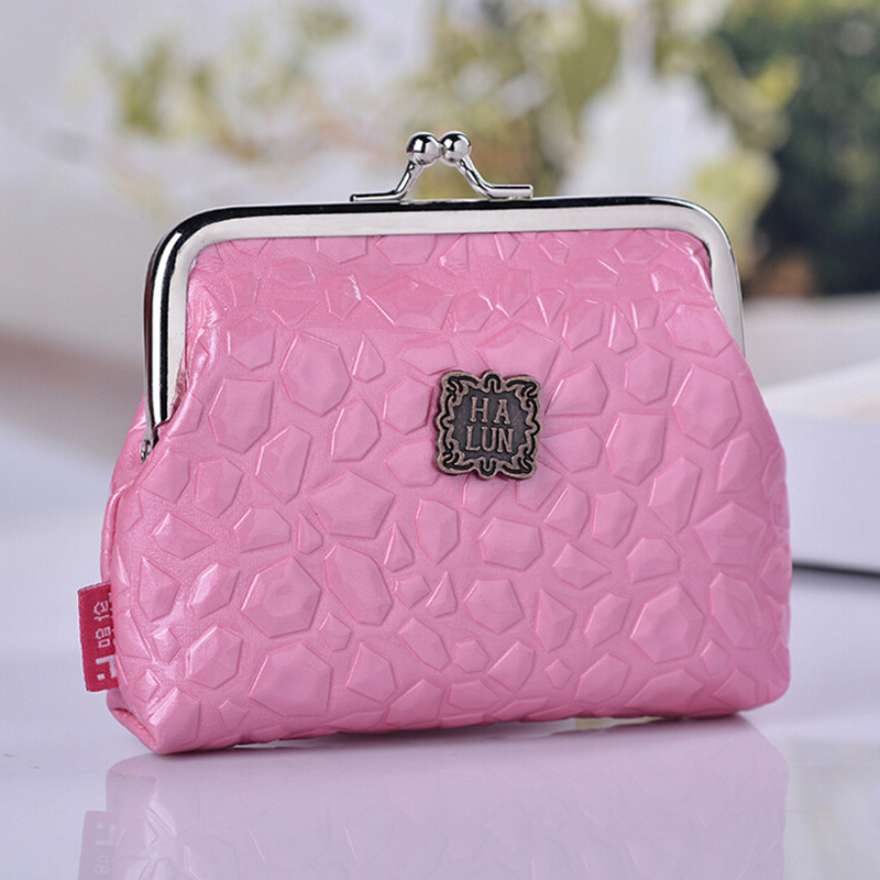 The new minimalist fashion glossy PU leather mini coin purse storage bag candy colored the keys bags women clutch wallets