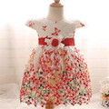 Summer butterfly hook flower girl princess yarn dress infant toddler short sleeve baby holiday party clothing