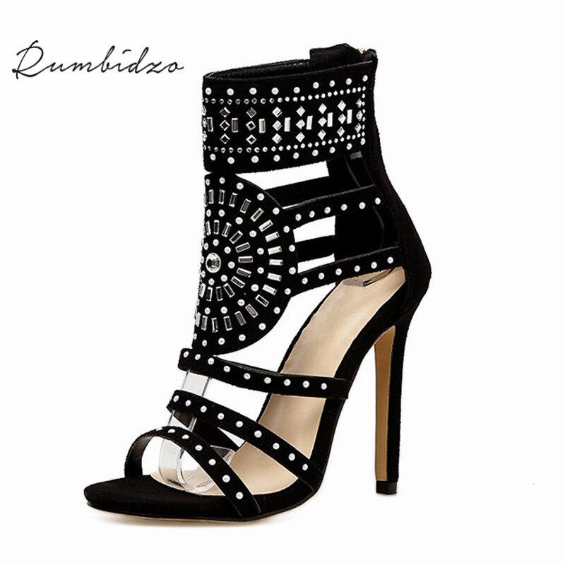 Rumbidzo женские босоножки 2018 Весна Лето туфли с открытым носком на высоком каблуке полые гладиаторские сандалии Украшенные стразами Обувь женщина
