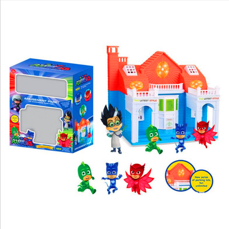 ФОТО Cartoon pj masks party villa has light and music characters catboy owlette gekko cloak pjmasks action figure toys vinyl doll