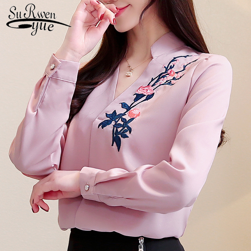 2019 Spring New Women Embroidered Shirt Female With Long-sleeved Shirt Large Size Loose Bottoming Beautiful Women Shirt 2182 50