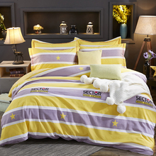 Papa&Mima Yellow stripes print bedding set Sanded Cotton Queen King size flat sheet pillowcases duvet cover sets