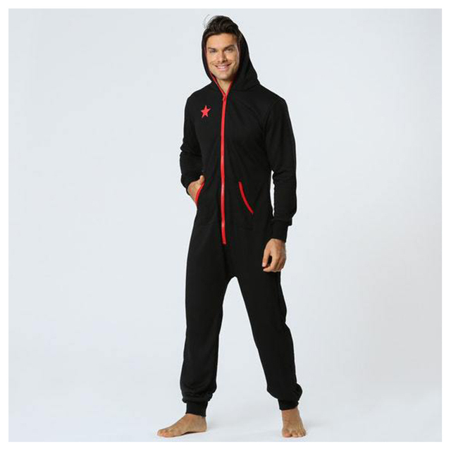 One Piece Pyjamas Male Hooded Onesie Sleepwear Men – 21JS