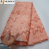 High Class Peach French Lace Fabric High Quality African Lace Fabric Organza Lace Fabric With Sequins And Beads 5Yards PSA629 3