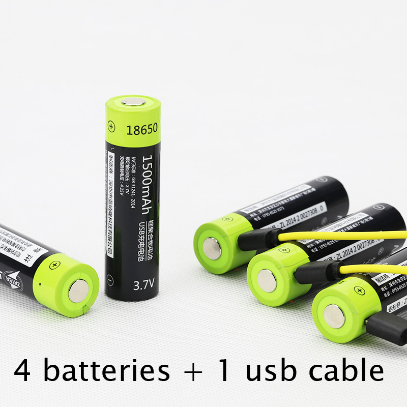 30%OFF 4PCS 1500MAH Lipo lithium polymer ZNTER battery 3.7V 18650 rechargeable cell + 1pcs USB cable for flashlight powerbank