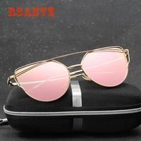 Rsabvz Fashion Brand Sunglasses For Women Glasses Cat Eye Sun Male Mirror Men Female Vintage Gold frame pink film with box