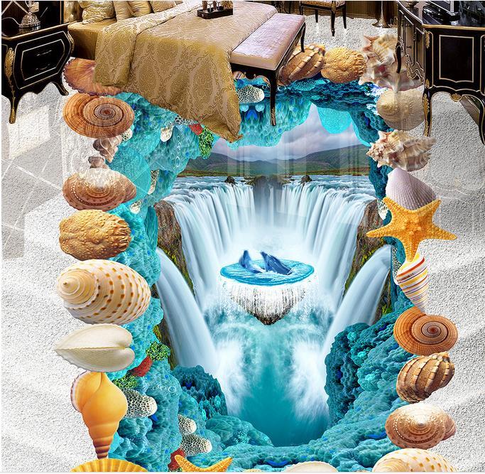 customize 3d floor wall paper rolls Sandy beach waterfall living room wall papers home decor 3d flooring