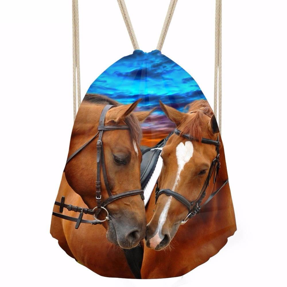 ThiKin Softback Women Men Drawstring Bag Causal 3D Crazy Horse Printing Teens Boys Girls Ball Backpacks