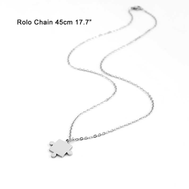 """Risul Nhỏ ghép hình phụ nữ Choker charms thép không gỉ Xuất Xứ thời trang 45 cm, 17.7 """"rolo chains ví nữ gift vòng cổ chokers"""