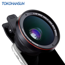 TOKOHANSUN HD Camera Lens Kit 0.63X Wide Angle 15X Macro Lens Mobile Phone Lens for iPhone 6 6s 7 8 plus X Samsung S9 S8 Plus sirui 18mm wide angle lens fisheye 10x macro lens phone lense for iphone 7 8 plus xr xs samsung s8 s9 s10 plus note10 huawei p30