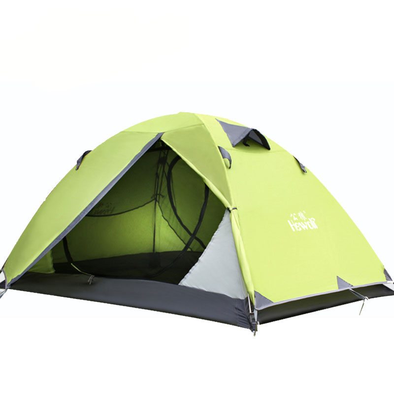 4 Colors Quality Hewolf Brand Travel Sunscreen Outdoor Picnic Camping Tent RainProof 2 Person Double Layer Aluminum Family Tents high quality outdoor 2 person camping tent double layer aluminum rod ultralight tent with snow skirt oneroad windsnow 2 plus