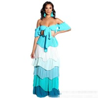 YSMARKET 3 Color Two Piece Set Hot Sexy Off Shoulder Short Top And Pleated Ruffle Long Maxi Skirts Set Boho Style Beachwear