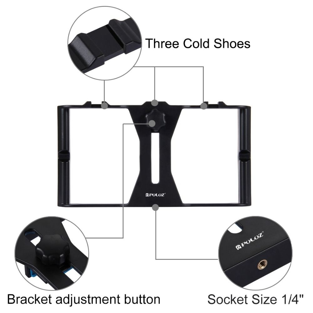 Image 4 - PULUZ Smartphone Video Rig   LED Studio Light   Video Microphone    Mini Tripod Mount Kits with Cold Shoe Tripod Head for iPhonPhoto  Studio Accessories