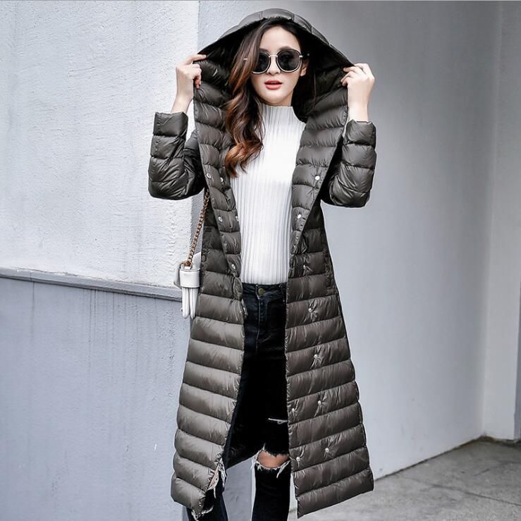 Women Winter   Coat   90% White Duck   Down     Coat   Women Ultra Light   Down   Jackets 2018 winter New Women Long   Down     Coat   Parka with Hood