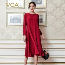 VOA red bag buckles long sleeved silk jacquard dress autumn loose retro mid calf dresses A6791