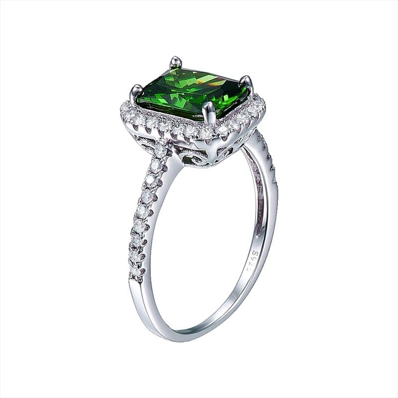 JQUEEN 3.6ct Nano Emerald stałe 925 Sterling Silver Rings dla kobiet Brincos pierścionek zaręczynowy ślub kwadratowe wycięcie niesamowite z pudełkiem w Pierścionki od Biżuteria i akcesoria na  Grupa 2