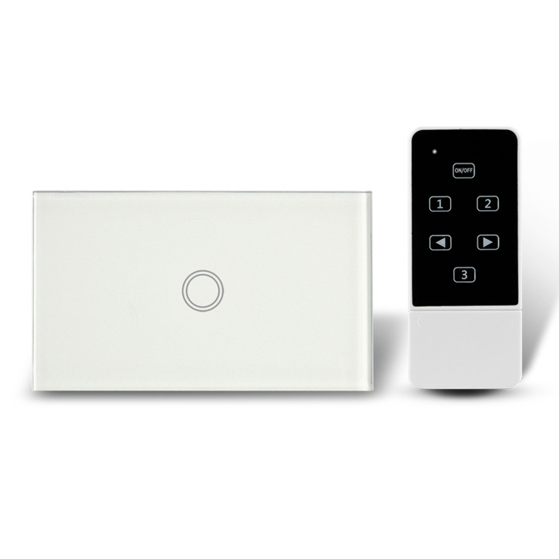 цена на New Design US Model Remote Control Switch Touch Glass Screen Panel Light Switch 1 Gang, RF 433Mhz, AC110-240V