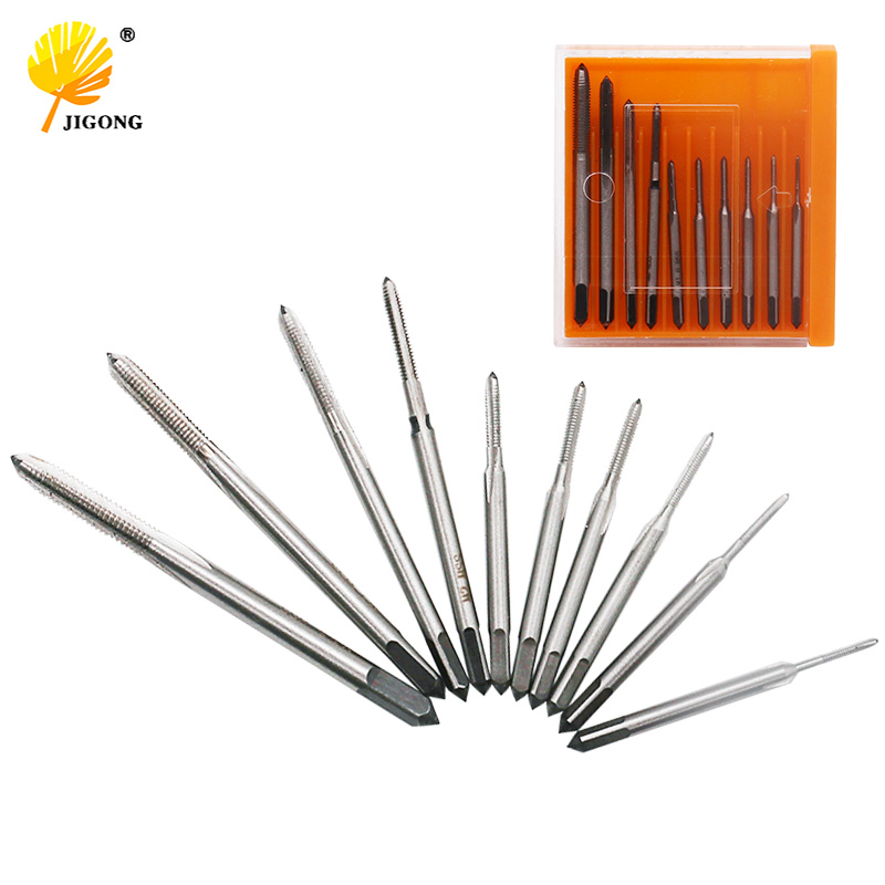JIGONG 10pcs/lot Hand tap thread wire tapping threading Taps attack M1 M1.2 M1.4 M1.6 M1.7 M1.8 M2 M2.5 M3.0 M3.5