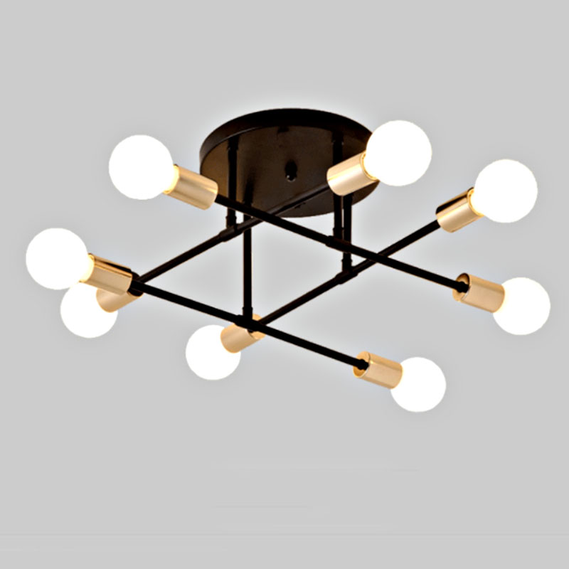 HTB1k5QTc8GE3KVjSZFhq6AkaFXaF 6/8 Head LED Industrial Iron Ceiling Lamp Black/Golden European Minimalist Living Room Lighting 220V E27 Anti-Rust & Durable