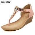 2017 New Arrival Summer Women Shoes Wedges Women Sandals Rhinestone Metal Ladies Female Sandalias Mujer Plus Size 41 SNE-452