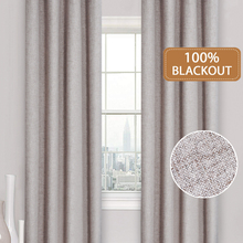 100%Blackout Curtains Linen Window-Treatment Bedroom Living-Room Kitchen Water-Proof