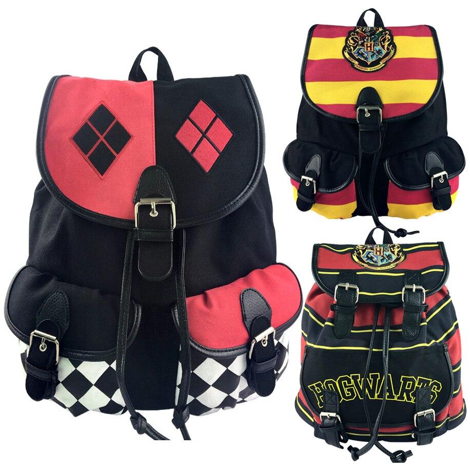 2018 Suicide Squad Harley Quinn Cosplay Women Bagpack Teenagers Schoolbags Men Backpacks Canvas School Bag String Drawstring Bag