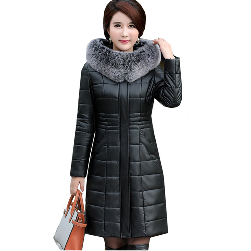 Large size 8XL Women Fur collar Hooded Jacket Winter Warm Thick PU   leather   Long Coats Parkas Black Down cotton Women's Overcoat