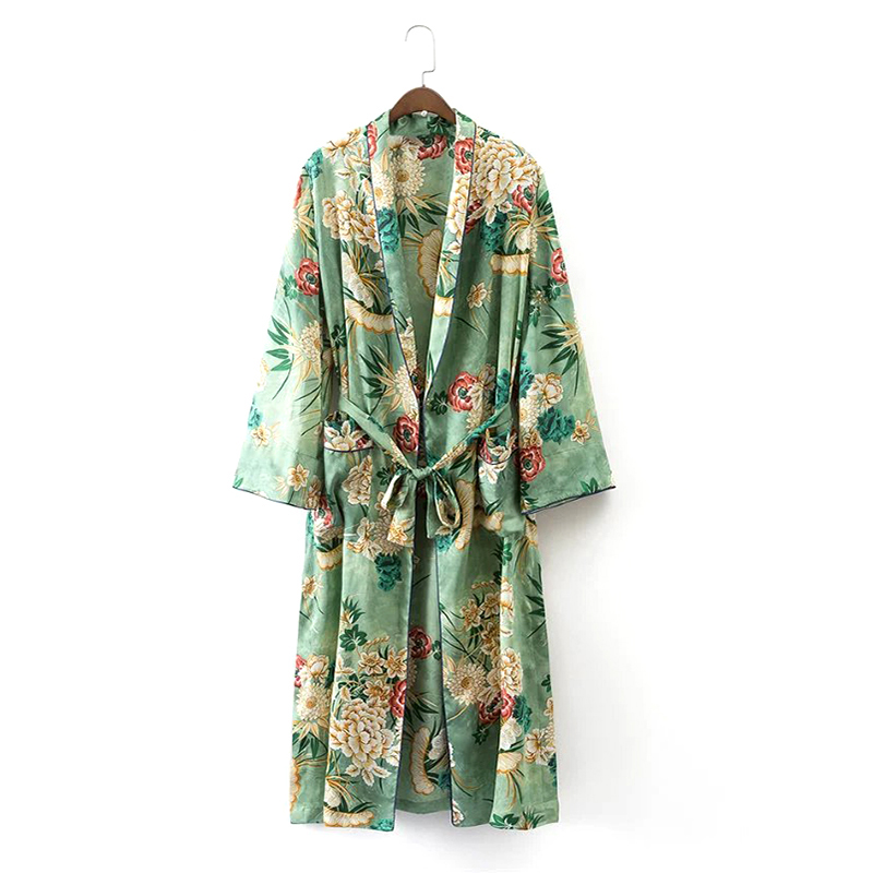 2018 Women Kimono Coat Vintage Floral Trench Coats Fashion Womens Long Tops Sobretudo Casaco Feminino
