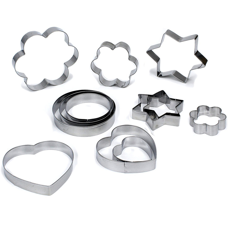 12pcs Set Stainless Steel Biscuit Cookie Mold Five-Pointed Kitchenware 3D Cookie Cutter DIY Baking Decor Pastry Modelling Tool
