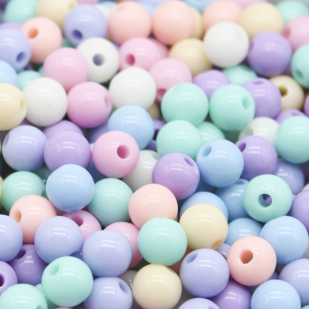 CHONGAI 100Pcs 8mm Candy Color Acrylic Round Ball Spacer Beads For Jewelry Making DIY Jewelry Accessories For Handicrafts
