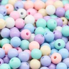 Chongai espaçador de contas para artesanato, 100 peças 8mm cor de doce acrílico redondo bola para fazer jóias acessórios para artesanato faça você mesmo