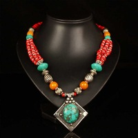 free shipping Handmade tibet silver buddha bead Turquoises beeswax red coral stone pendants necklace fashion jewelry