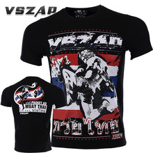 VSZAP Muay Thai UFC Fighting Fight Phuket T-shirt Men MMA Fitness Workout Martial Arts Show Tide Male High Quality Clothing