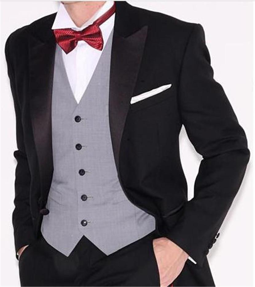 Formal Design Thin Tuxedos Men's Dinner Prom Dress Slim Groomsmen Wedding Suits Business Suits (Jacket+Pant+Vest+Tie)