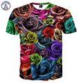 Mr.1991INC Nueva Moda Hombres/Mujeres Del Verano Remata camisetas Rosas Coloridas Flores de Impresión Digital 3d Camisetas