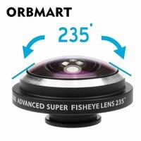 ORBMART uniwersalny klip 235 stopni Super rybie oko aparat obiektyw typu rybie oko dla Apple iPhone Samsung Xiaomi Huawei obiektywy telefonu komórkowego