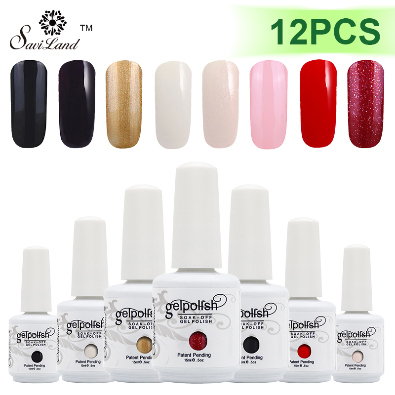 Saviland 12pcs UV Gel Nail Polish Lacquer Permanent Varnishes Nails Esmalte 15ml 58 Colorful Optional Gel polish жидкость domix green professional nail gel polish remuver