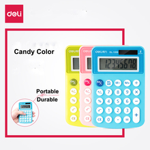 Deli Candy Color Portable Calculator Plastic Button 8 digital Handheld Solor/Coin Battery Office Business Accounting