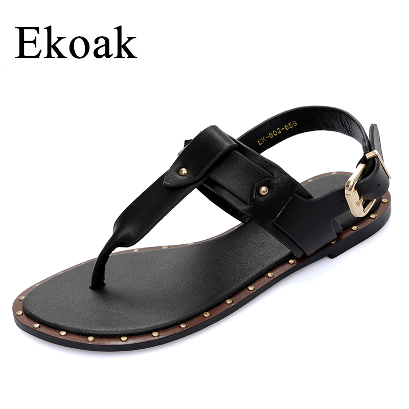 Ekoak New 2018 Fashion Leather Sandals women Summer Ladies Dress shoes woman Beach Shoes Flat Sandals flip flops women ekoak new 2018 summer shoes woman fashion crystal women sandals ladies wedges platform shoes woman party shoes gladiator sandals