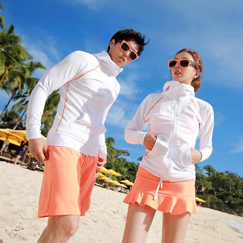 Подходящие пары Upf 50 + длинный рукав на молнии с защитой от сыпи комплект из 4 предметов Солнцезащитный УФ Рашгард для водных видов спорта рубашка Леггинсы мужские и женские