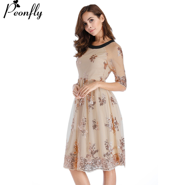 Peonfly O Neck Half Sleeve Sequin Dress Women Y Mesh Streetwear Casual Vintage Midi Party