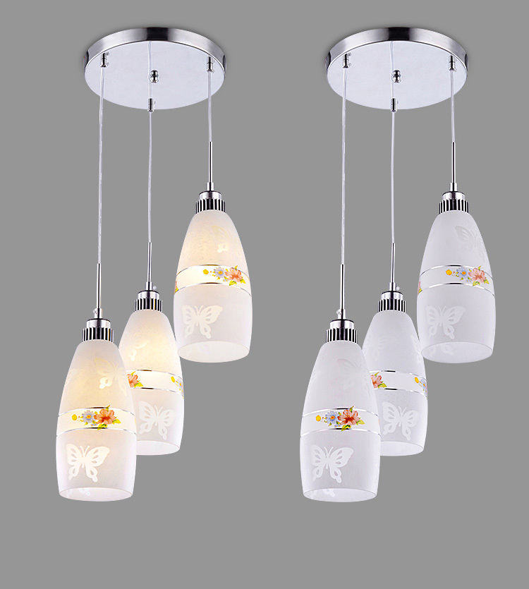 Modern Glass butterfly Painting Dining Room Pendant Light Restaurant Bar Counter Flower Pendant Lamp Hallway Blacony Pendant