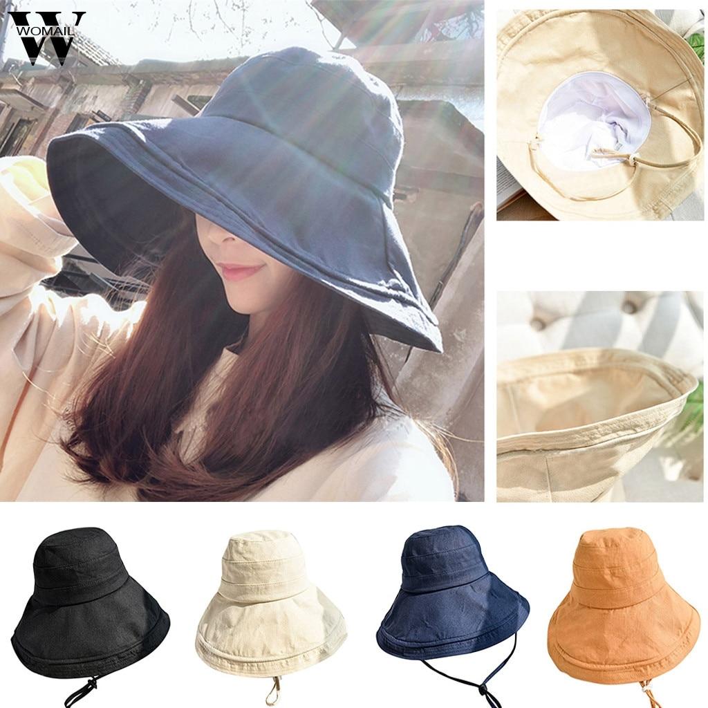 Womail Women Hat Summer Ladies Comfortable Basin Hat Fisherman Hat Casual Visor Collapsible Cap Sun Hat 2019  F25